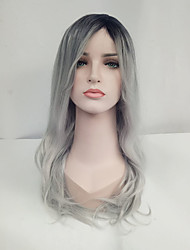 cheap -Women Synthetic Wig Capless Long Wavy Black/Grey Ombre Hair Dark Roots Natural Wigs Costume Wig