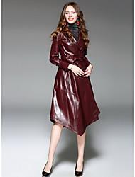 baratos -Mulheres Longo Casaco Longo Para Noite Moda de Rua Inverno, Sólido Pele de Carneito Colarinho de Camisa