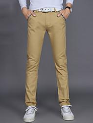 Da uomo A vita medio-alta Semplice Anelastico Chino Pantaloni,Dritto Tinta unita