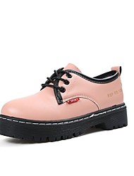 Women's Oxfords Comfort Fall PU Dress Lace-up Flat Heel Blushing Pink Black 2in-2 3/4in