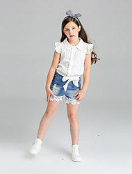 Girls' Solid Sets,Cotton Summer Short Sleeve Clothing Set