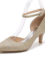 preiswerte -Damen Schuhe Glanz Frühling / Herbst Pumps / Knöchelriemen Hochzeit Schuhe Konischer Absatz Spitze Zehe Gold / Silber