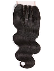 3 Part Lace Closure 4x4 Body Wave Human Hair Closure Piece with Baby Hair Natural Black Color No Bleached Knots