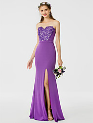 Sheath / Column Sweetheart Floor Length Jersey Bridesmaid Dress with Appliques Sash / Ribbon Split Front by LAN TING BRIDE®