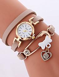Mujer Reloj de Moda Reloj Pulsera Cuarzo PU Banda Casual Cool Blanco Gris Color Beige
