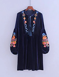 Women's Going out Casual/Daily Simple Street chic Loose Dress,Solid Embroidered Round Neck Knee-length Long Sleeves Cotton Others Velvet