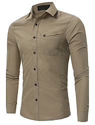 Men's Plus Size Casual/Daily Simple Fall Winter Shirt,Solid Shirt Collar Long Sleeves Polyester Medium