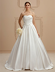cheap -A-Line Strapless Court Train Satin Made-To-Measure Wedding Dresses with Side Draping / Criss Cross / Criss-Cross by LAN TING BRIDE® / Open Back