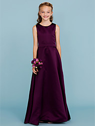 cheap -A-Line Jewel Neck Floor Length Satin Junior Bridesmaid Dress with Sash / Ribbon by LAN TING BRIDE®