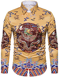 Men's Casual/Daily Street chic Shirt,Print Shirt Collar Long Sleeves Polyester
