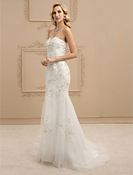 cheap -Mermaid / Trumpet Sweetheart Sweep / Brush Train Lace Tulle Wedding Dress with Appliques Buttons by LAN TING BRIDE®