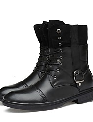 Men's Shoes Real Leather Cowhide Nappa Leather Fall Winter Fashion Boots Motorcycle Boots Bootie Boots Booties/Ankle Boots Mid-Calf Boots