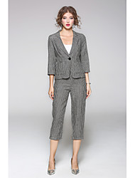 cheap -JOJO HANS Women's Daily Casual Fall Shirt Pant Suits,Solid Print Shirt Collar Long Sleeve Linen