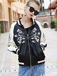 BLUEOXY Women's Sports Going out Casual/Daily Simple Fall Winter JacketSolid Color Block Round Neck Long Sleeve Regular Polyester Embroidered