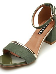 cheap -Women's Shoes PU Spring Fall Light Soles Sandals Block Heel Open Toe Buckle For Casual Dress Khaki Army Green Black
