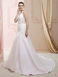 cheap -Mermaid / Trumpet V Neck Court Train Lace / Satin / Tulle Made-To-Meature Wedding Dresses with Beading / Appliques / Buttons by LAN TING