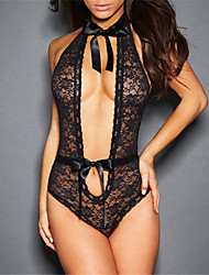 Women's Lace Lingerie Teddy Nightwear,Sexy Solid-Thin Acrylic Polyester