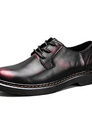 abordables -Homme Chaussures Cuir Hiver Automne Confort Oxfords Lacet pour Bureau et carrière Soirée & Evénement Noir et Or Preto e Prateado