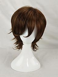 Недорогие -Парики из искусственных волос Кудрявый Стрижка каскад Без шапочки-основы Муж. Коричневый Парики для косплей Короткие