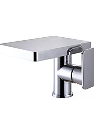 cheap -Contemporary Simple Modern Style Centerset Waterfall Ceramic Valve Single Handle One Hole Chrome, Bathroom Sink Faucet