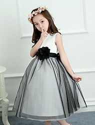 A-Line Knee Length Flower Girl Dress - Satin Tulle Sleeveless Jewel Neck with Flower(s) Sash / Ribbon by Nameilisha