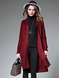 JIANRUYI Women's Casual/Daily Simple Long Cardigan,Solid Stand Long Sleeves Acrylic Fall Medium Micro-elastic