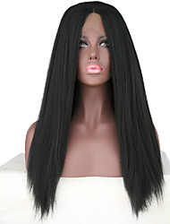 cheap -Women Synthetic Wig Lace Front Long Yaki Black Natural Hairline Middle Part Natural Wigs Costume Wig