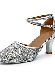 "cheap -Women's Modern Paillette Customized Materials Heel Indoor Customized Heel Gold Black Silver 2"" - 2 3/4"" Customizable"