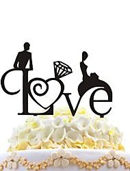 Bolo de acrílico inserção amor criativo abraço adorável decorando ornamentos