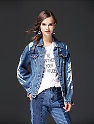 baratos -Feminino Jaqueta jeans Para Noite Casual Moda de Rua Outono Inverno,Sólido Padrão Outros Colarinho de Camisa Manga Longa