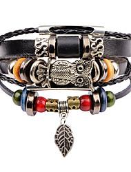 cheap -Men's Leather Bracelet Strand Bracelet Vintage Multi Layer Leather Alloy Owl Jewelry Club Street Costume Jewelry