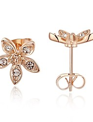 Women's Stud Earrings AAA Cubic Zirconia Bohemian Gold Plated Flower Jewelry For Party Birthday Daily Office & Career