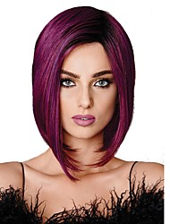 Women Synthetic Wig Capless Medium Straight Black/Purple 100% kanekalon hair Bob Haircut Cosplay Wigs Natural Wig Costume Wig