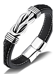 cheap -Men's Leather Leather Bracelet - Hip-Hop Rock Irregular Black Bracelet For Party Birthday Gift Evening Party