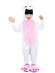 Недорогие -Пижама и тапочки кигуруми Unicorn Цельные пижамы Костюм Фланель Розовый Синий Розовый Косплей Для Для детей Нижнее и ночное белье животных