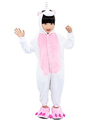 preiswerte -Kigurumi-Pyjamas mit Hausschuhen Unicorn Pyjamas-Einteiler Kostüm Flanell Rose Blau Rosa Cosplay Für Kind Tiernachtwäsche Karikatur