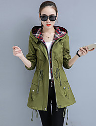 Women's Going out Street chic Spring Fall Trench Coat,Color Block Hooded Long Sleeve Regular Polyester