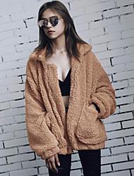 abordables -Manteau en Fourrure Grandes Tailles Femme - Couleur Pleine Col de Chemise Fausse Fourrure