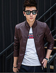 Men's Daily Simple Casual Fall Leather Jacket,Solid Stand Long Sleeve Regular PU