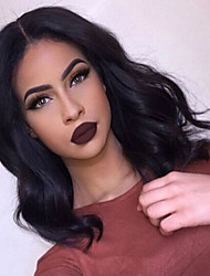 cheap -Human Hair Full Lace / Lace Front Wig / Glueless Full Lace Wig Brazilian Hair Body Wave Layered Haircut / With Baby Hair 130% Density Middle Part Bob / Natural Hairline / African American Wig Women's