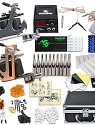cheap -Complete Tattoo Kit 2 steel machine liner & shader 2 Tattoo Machines LCD power supply Inks Shipped Separately