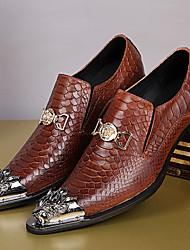 Недорогие -Для мужчин обувь Наппа Leather Осень Зима Формальная обувь Туфли на шнуровке Шнуровка С металлическим носком Назначение Повседневные Для