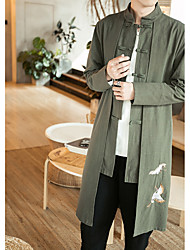 cheap -Men's Chinoiserie Long Plus Size Cotton Jacket - Solid Colored, Print / Embroidered Stand