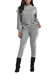Women's Sports Going out Simple Street chic Spring Fall Hoodie Pant SuitsSolid Round Neck Long Sleeve Micro-elastic