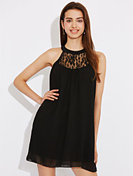 cheap -Women's Lace Fashion Summer Slim Sexy Lace Splice Chiffon Round Neck Sleeveless Black Dress