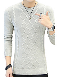 cheap -Men's Daily Plus Size Regular Pullover,Striped Round Neck Long Sleeves Cotton Winter Fall Medium Micro-elastic