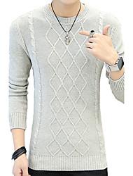 Недорогие -Муж. Большие размеры Пуловер - Полоски Круглый вырез