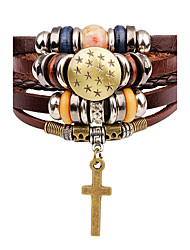 cheap -Men's Women's Leather Bracelet Fashion Adjustable Leather Alloy Star Cross Jewelry For Stage Street