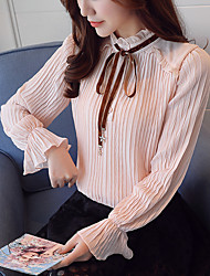 cheap -Women's Daily Work Casual Spring Fall Blouse,Solid Stand Long Sleeves Polyester Thin