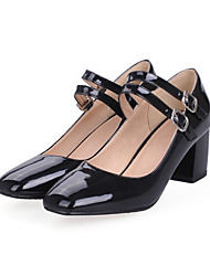 cheap -Women's Shoes PU Spring Fall Comfort Novelty Heels Chunky Heel Round Toe Buckle For Office & Career Dress Blue Red Black White